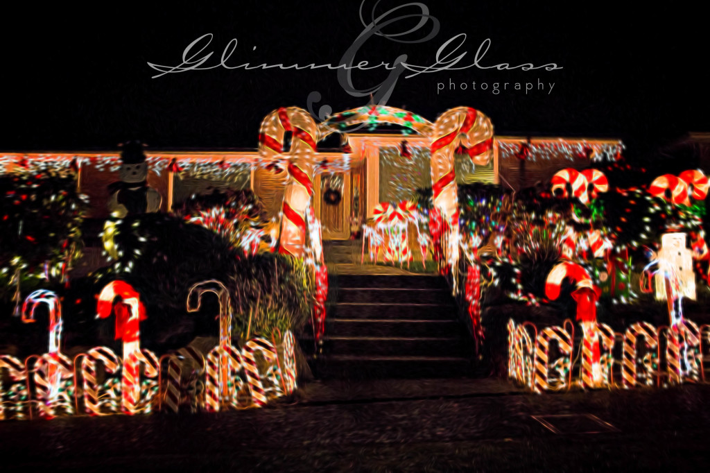 """Christmas Lights in Olympic Manor. Filtered with """"Liquify"""" from the Topaz Glow"""